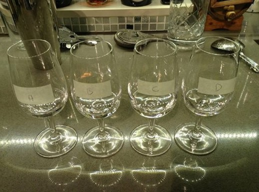 """How to set up a blind tasting for yourself. (possibly for over 50s only). Label the glasses (A, B, C, etc). Record what's in each glass somewhere secret (paper, iPad Notes, whatever). Go to another room. Come back. Say, """"Oh my gosh, somebody has prepared a"""