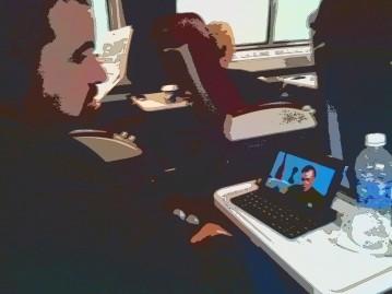 Andy watching Star Trek fan movies on the train to Niagara