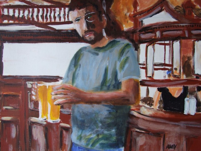 Self portrait in The Prince Alfred with 2 pints of Addlestones (40x30cm acrylic October 2009)