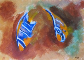 Blue Angelfish and Queen Angelfish (20x30cm acrylic January 2011)