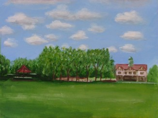 Bandstand & Clubhouse (40x30cm acrylic June 2005)