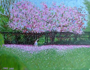 Cherry Blossom falling in Paddington Recreation Ground (40x30cm acrylic April 2005)