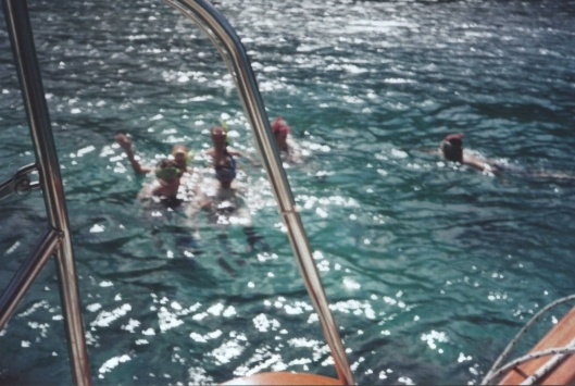 Snorkeling off of the Nose's boat