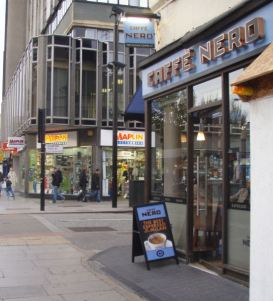 Opposite the Maplin on Edgware Road there is a Caffe Nerd!