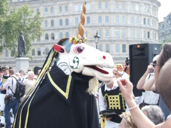 Westminster troop's beast is a unicorn that collects money from the crowd.