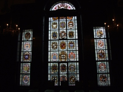 Old stained glass armorials originally from Serjeant's Inn (sp?)