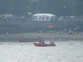 The only bit of the Boat Race we saw all day!