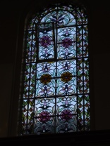 The stained glass was all floral design. From the outside we'd guessed it was geometric.