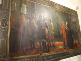 Mural depicting Indian Moghul honouring the tomb of the unknown soldier at Westminster Abbey