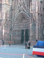 Front door of the Strasbourg Cathedral - waiting for some dignitaries to come out/go in. Hard to tell what was happening. Watching the people fuss with the moveable barriers was amusing anyway.