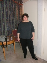 Michelle in Hotel Gutenburg. My sister wanted a picture of me to see my weightloss progress. Still a heifer though!