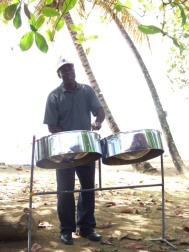 Whilst eating lunch at Castara Bay we are treated to a steel drum lesson for a mere TT$40
