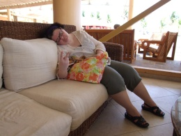 After pool and boggle, Michelle needs a nap.
