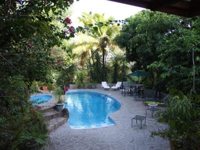 The villa has a pool
