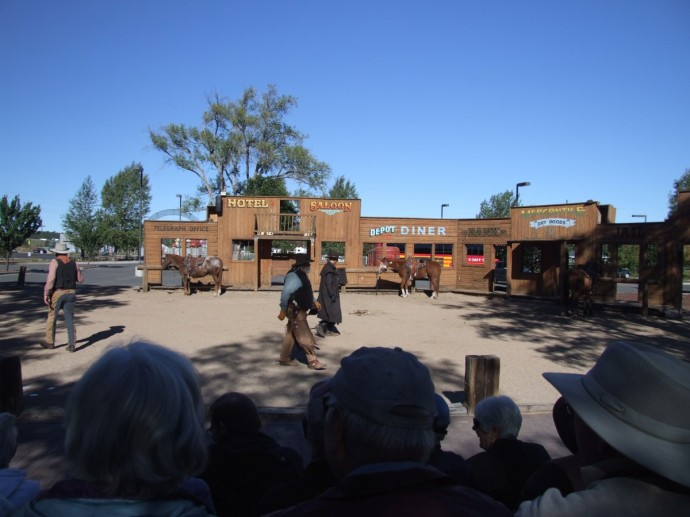 Super-lame Wild West show at The Grand Canyon Railway Hotel that was not worth sitting in the freezing cold for.