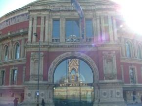 Albert Memorial reflected in the Albert Hall.