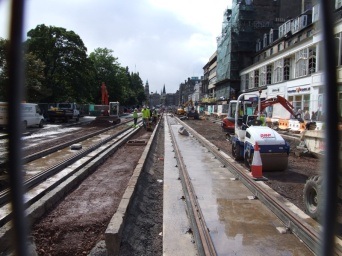Princes Street is tore up while they lay tram tracks.