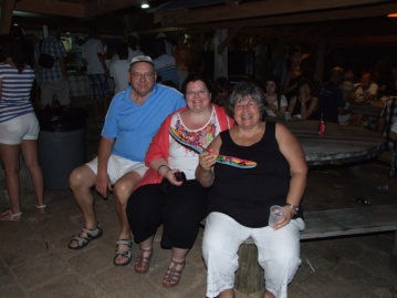 Jerry, Michelle & Sharon enjoying the atmosphere at Shirley Heights.