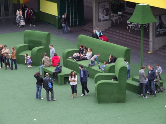 Giant outdoor furniture at the National Theatre