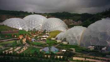 The Eden Project near St Austell. An educational site developed in a disused chalk quarry