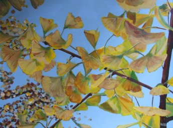 Ginko in Paddington Recreation Ground (40x30cm acrylic July 2006)