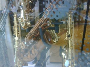 Wooden saxophone.