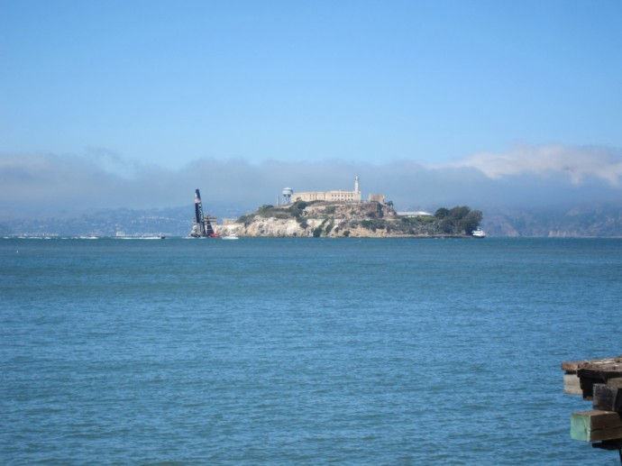 Alcatraz and Americas Cup boat