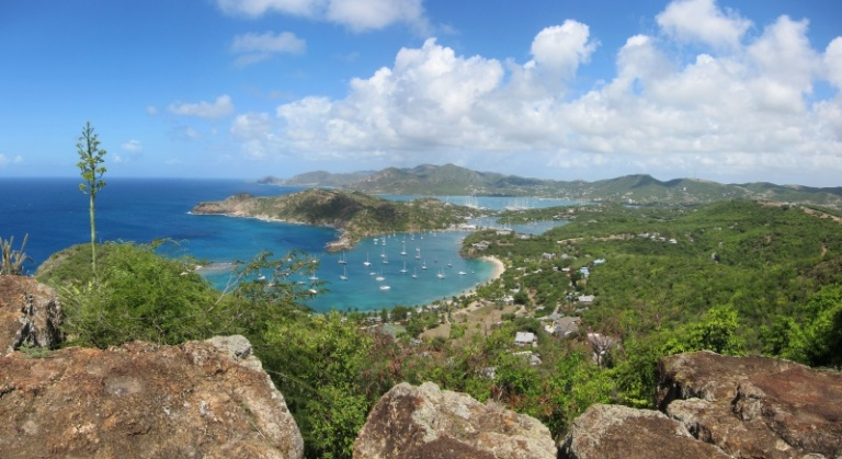 View of Galleon Bay, English Harbour and Falmouth Harbour from Shirley Heights.