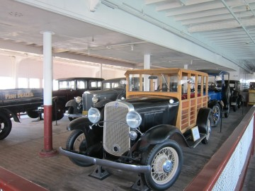 Old cars in ferry