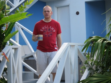 John with his morning coffee