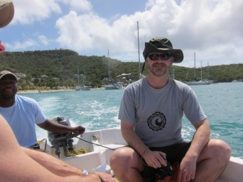 on the (complementary) water taxi from Galleon Beach to Nelson's Dockyard