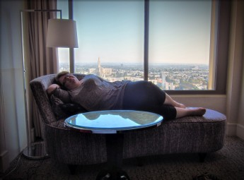 Her ladyship relaxing in our LA hotel room and the view from the 16th floor.