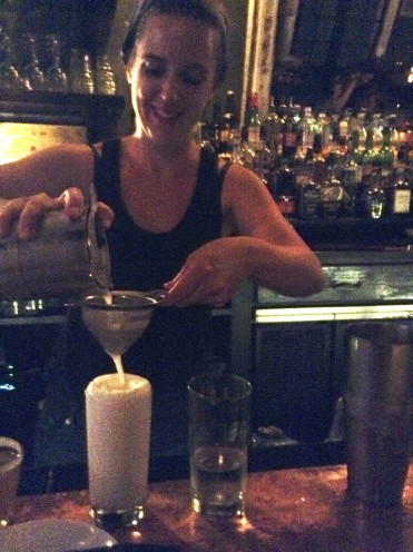 Jacki Walczak making me my first Ramos Gin Fizz. - at Sylvain Restaurant