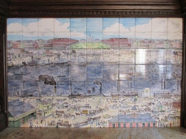 View of the French Quarter on tiles in the hotel restaurant