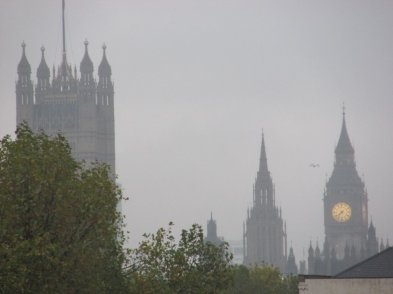 Palace of Westminster through fog