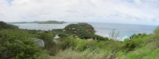 Falmouth Harbour, Proctor Point and Turtle Bay from the hill above our villa (circled).