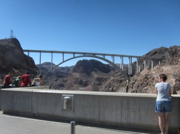 The new bypass span bridge from the Hoover Dam