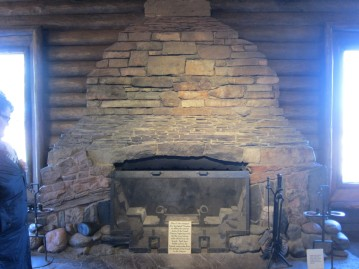 Bright Angel Lodge. The fireplace is designed to mimic the layers of rock in the canyon.