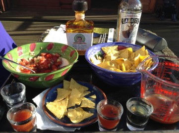 Tequila and chips on the patio