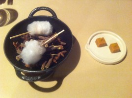 Bridging course before the desserts - miso fudge and candy floss on a bed of twigs.