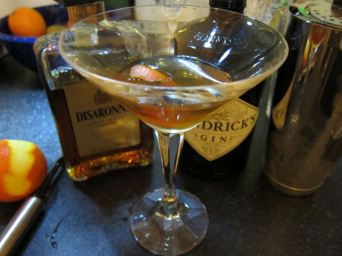 Disgusting Cocktail Night: Disaronno Martini (1 0.5 Hendrix, 1 Disaronno Amaretto, twist of orange)