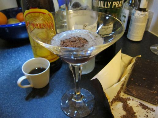 DCN: Espresso Martini (3 Vodka, 1 espresso, 1 Kahlua, dash creme de cacao, drop of dry vermouth, chocolate shavings)