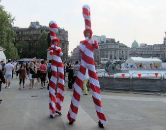 Traditional St. George's Day stilt walkers