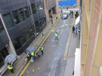 Crime scene outside our offices