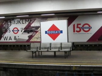 Moorgate celebrate the 150th anniversary of the London Underground with a retro sign