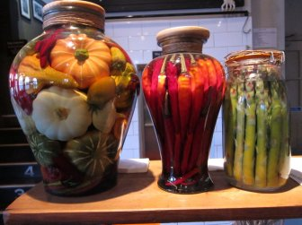 Veg in jars in pub @ Victoria Park