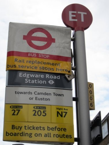 We're going to a Sci-Fi exhibition at the National Library - our bus stop is ET.