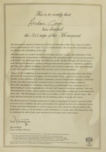 Certificate of climbing Monument