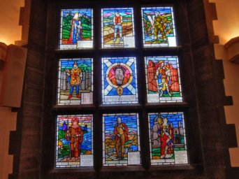 Scottish themed stained glass window