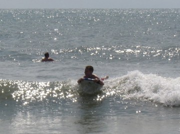 TJ catching a wave